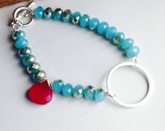 Blue Quartz Bracelet, Pink Chalcedony Bracelet, Silver over Copper Ring, Colorful Bracelet, Blue, Pink, Etsy, Beaded Bracelet