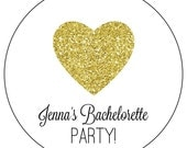gold bachelorette party stickers, custom gold heart bachelorette party stickers, custom gold glitter heart stickers