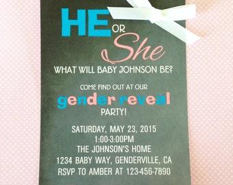 printable gender reveal party invitations, digital gender reveal invites, custom DIY chalkboard gender reveal party invitation
