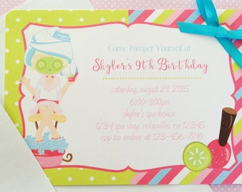12 spa party invitations with envelopes, spa birthday party invites, polka dots and stripes birthday invitation, pink and green, 5x7 size