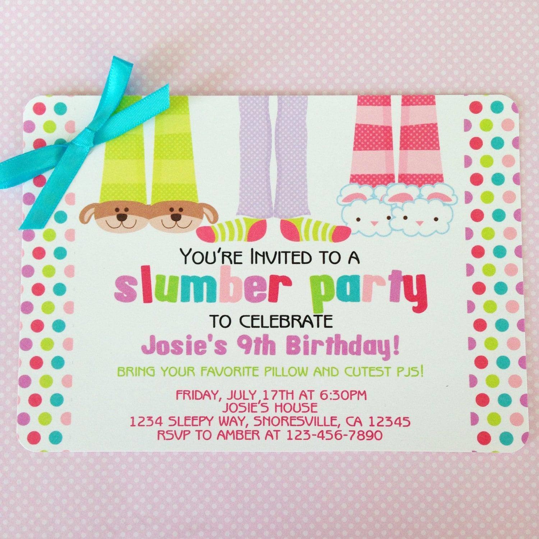 Printable Slumber Party Birthday Invitation Printable