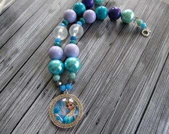 Elsa Necklace Frozen Necklace, bubblegum necklace, chunky necklace,  Elsa rhinestone necklace, Disney Princess Chunky Bubblegum