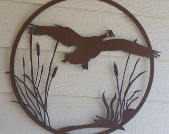 "Geese # 2 and Cattails Rustic Decor 18"" custom garden art Rustic Flying Geese"