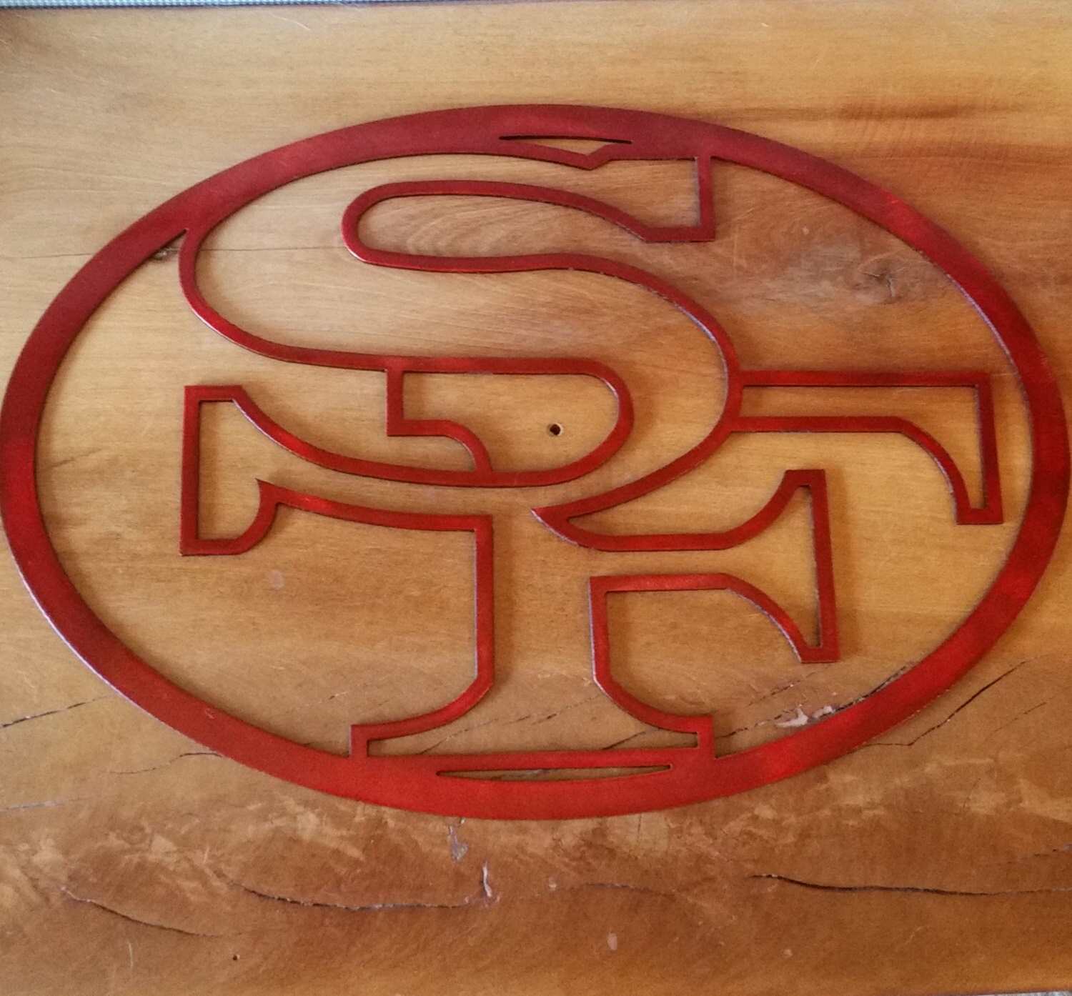 Recycled metal red 49ers logo wall decor san francisco nfl for 49ers wall mural