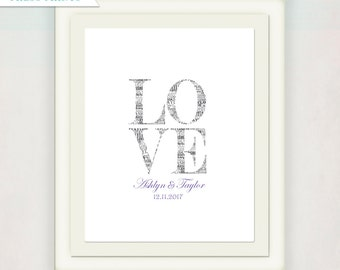 Personalized Wedding Guest Book Alternative // Love Wedding Sign with Names and Date // Wedding Signatures // gray and purple