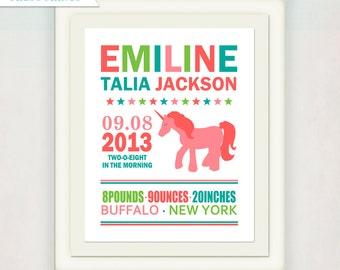 Unicorn Birth Announcement Print // Custom Girl's Unicorn Print with Baby's name // Kid's Nursery Wall Art // Typography Poster Art