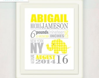 Yellow and Grey Birth Announcement Wall Art // Elephant Print // Custom color // Girl's Nursery Announcement Print // Baby Gift