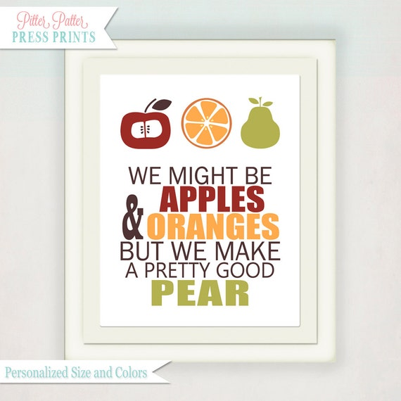 Kitchen Art Print // Typography Wedding Anniversary Art // Kitchen Wall Art // Apple Orange & Pear Fruit // Kitchen Pun