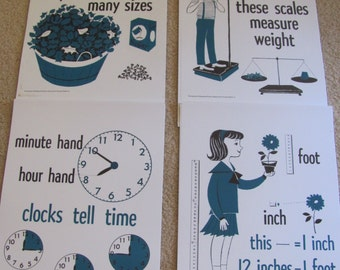 "Vintage Illustrated Large Flash Card Science Chart Poster -- 11"" x 14"" Your Choice Measurements"