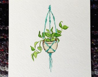 Original Watercolor Hanging Pothos Plant