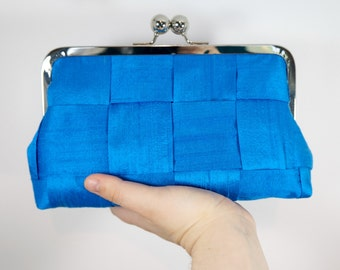 Cobalt evening bag, Formal purse, framed clutch, azure clutch purse, Blue clutch, silk clutch