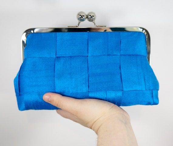 Cobalt evening bag, Formal purse, framed clutch, azure clutch purse, Blue clutch, silk clutch