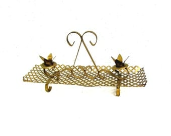 Mid Century Scrolled Metal Candle Holder, 1960s Era Kitschy Table Decor, 1960s Metal Goldtone Centerpiece