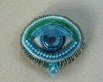 Turquoise 'EYE' hand beaded brooch or pendant