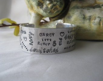 Pride and Prejudice - Hand Stamped Quote Cuff Bracelet - You have bewitched me body and soul - Jane Austen Jewelry - Aluminum Cuff - Darcy