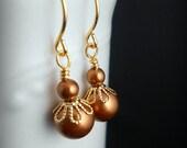 Pearl earrings, gold pearl earrings, bridal jewelry, copper pearl earrings, autumn, fall wedding, burnt orange, bridesmaids gift, girlfriend