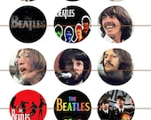 """Beatles Pins, Beatles Magnets, Beatles, Set C,  1"""" Inch Flat Back Buttons, Hollow Backs, Cabochons,  Pins, or Magnets 12 ct."""