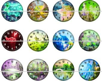 Clock Magnets, Clock Pins, Fantasy Clock Magnets, Fantasy Clock Pins, Dream Clock Magnets, Party Favors, Gift Sets, Fridge Magnets