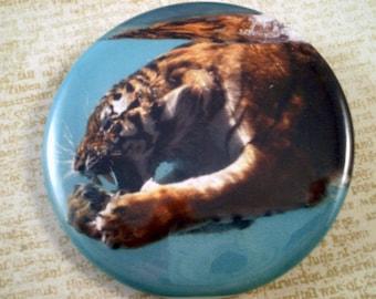 """Tiger Fridge Magnet, Tiger Pin, 2.25"""" Pin, Swimming Tiger Pins, Swimming Tiger, Tiger Fridge Magnet, Swimming, Large Tiger Fridge Magnet"""