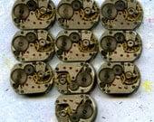 """1/2"""" x 5/8"""", 10 IDENTICAL little watch movements, best price, jewelry art, steampunk, vintage, watch parts, JunqueTreasures, WM5"""