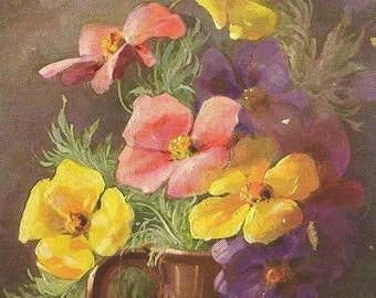 Mary Golay Artist Signed Elegant Vase of Colorful Flowers Vintage Birthday Postcard 1908 With Flag Cancel