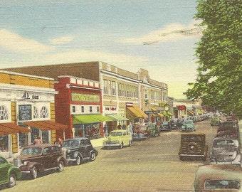 Main Street Hyannis Cape Cod Massachusetts – colorful vintage linen postcard 1945