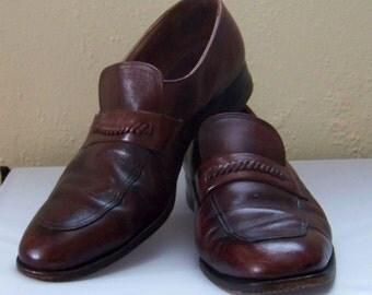 Vintage Rusty Auburn Mens Florsheim Imperial Loafers Slip On Dressy Work Shoes