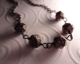 Rustic Industrial Chunky Black Gunmetal Necklace