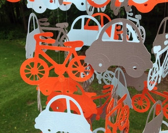 Car and Bicycle Floating Paper Mobile