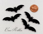 45x15mm Black Laser Cut Bat Acrylic / Resin Cameo Cabochon - 12/24/50pc