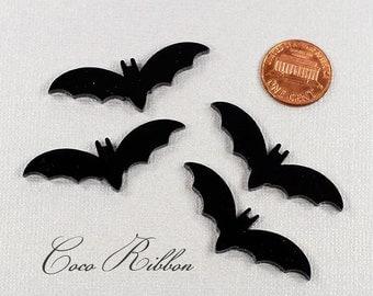 45x15mm Halloween Glitter Black Laser Cut Bat Acrylic / Resin Cameo Cabochon - 20/40 pieces (C13)