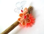 Driftwood Hair Stick with Peach Kanzashi Flowers and Blue Butterfly Unique Gift Fabric Origami Rustic Wedding