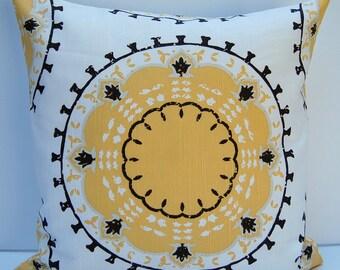 Suzani Decorative Pillow Cover, Yellow Suzani Throw Pillow, Yellow and Brown Suzani Pillow Cover, 18x18 Pillow, Yellow Suzani Cushion Cover
