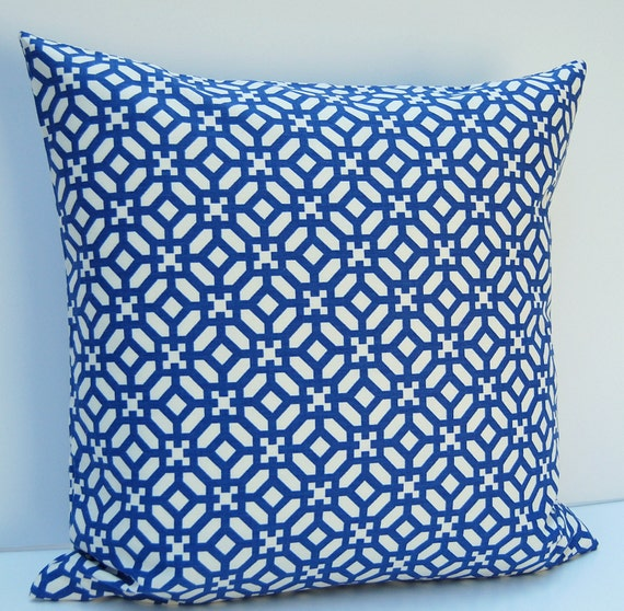 Blue Geometric Throw Pillows : Blue Geometric Pillow Cover Modern Geometric Throw Pillow