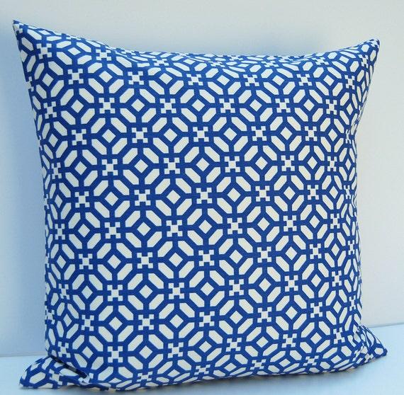 Modern Geometric Pillows : Blue Geometric Pillow Cover Modern Geometric Throw Pillow