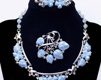 Signed CORO Light Sapphire Blue Moonstone Molded Glass Acorn and Crystal Rhinestone Necklace, Brooch and Earring Demi