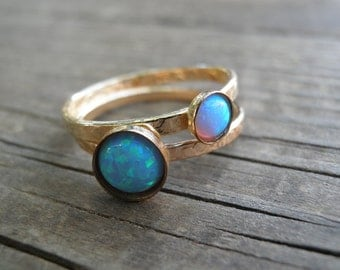 Opal Ring, Gold Stackable Ring, Statement Rings, Gemstones Ring, Stacking Rings, Turquoise Ring, Opal Rings Set, Christmas Gift Gift For Her