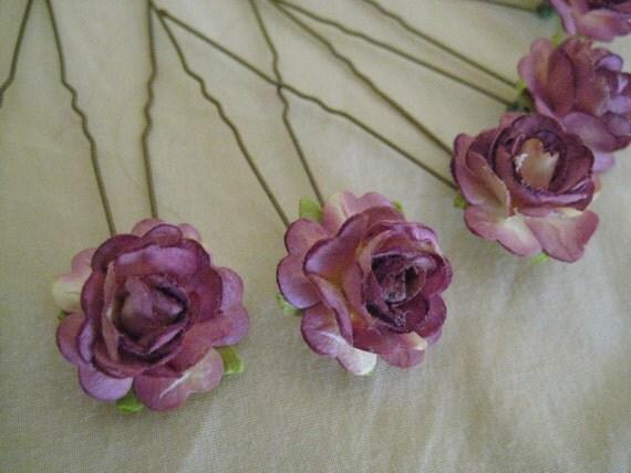 Plum Purple Rose Hairpins x 8. Paper. Wedding, Bridal, Regency, Victorian