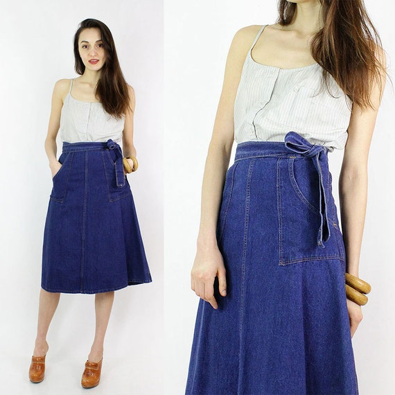 70s Denim Wrap Skirt S/M Vintage Madewell Wrap Skirt