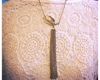 Bird fringe necklace