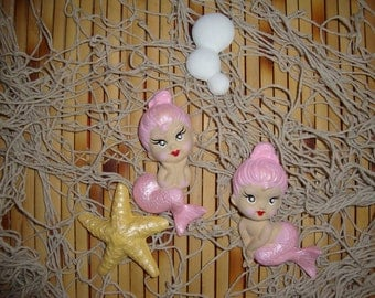 Reserved for Cindy: Vintage Reproduction Chalkware Baby Mermaid Wall Hanging Plaque Set with Starfish & Bubbles