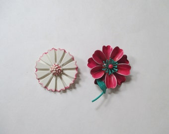 Vintage Enamel Flower Pins - Pink, White, Teal - Two in Lot