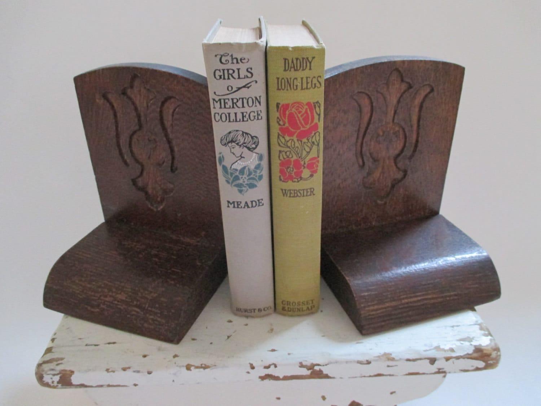 Vintage wooden bookends fleur de lis design shabby cottage - Fleur de lis bookends ...