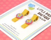 Baby Toddler Hair Clip/Bow Set of 2 Turquoise Coral Mod Flower Floral Brad on Yellow