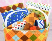 9pc Baby Gift Set in Boy Bright Remix Argyle Chevron 2 Bibs, 2 Burps, 1 Bandana Bib, 2 Wash Cloths, Basket, Keyfob