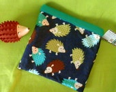 Hedge hog bag  sleeping bag cuddle bag  double thick cotton flannel and fleece seamless hedgehog design solid turquoise reversible