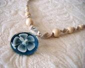 Turquoise Teal Blue Flower, Hemp Necklace, Indie Hemp Works, Hemp Jewelry, Handmade Jewelry, Classic, Macrame Jewelry, Unique, Choker, Hemp