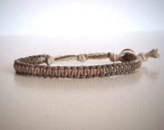 Brown Natural Multi-color Hemp Bracelet, Hemp Anklet, Indie Hemp Works, Aromatherapy, Artisan Hemp, Friendship Bracelet, Hemp Jewelry, Gift