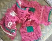 Figure-Ground Pink Ruffles Crochet Scarf