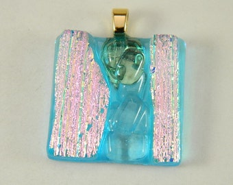 Turquoise and Pink Dichroic Fused Glass Pendant